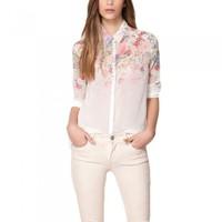 Elegant Sexy Women Chiffon Blouse Flower Floral Print Turn-down Collar Long Sleeve Button Shirt Tops