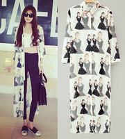 Spring autumn woman's  portrait print  maxi chiffon shirt x-long blouses sunscreen outerwear