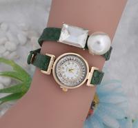 Summer Fashion Charm Of The Latest Popular Style Of Hawaii Rhinestone Girl Long Leather Pearl Decoration Quartz Watch