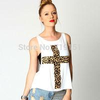 Free shipping tank tops sexy fashion leopard print cross pattern print loose low o-neck vest T-shirt tube top twinset women tees