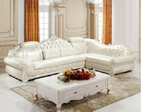 Living room France  noble  classical corner sofa set 2+3,oak frame sofa,genuine leather 100% Sofa white  SF-004