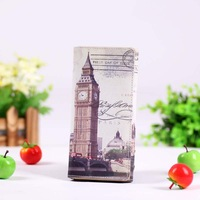 Eiffel Tower Statue of Liberty Flower London Clock Tower Wallet Credit PU leather Cover Skin case wholesale