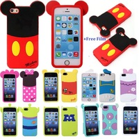 Mickey Mouse Minnie Mouse etc Back Shadow Silicone Case Cover for iPhone5 5S + Film