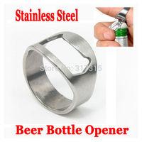 12 pcs New Stainless Steel Beer Bottle Opener Finger Ring Bottle Opener Bar Beer tool + Free Shipping + 3 Sizes Available