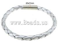 Free shipping!!!PU Cord Bracelets,Jewelry 2013 Fashion, brass bayonet clasp, woven, silver, 6mm, 20x7mm, Length:8 Inch