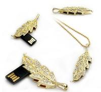AJ3 Fashion Jewelry Women Clear Crystal Leaf Model 2.0 usb flash drive memory card stick/Chain Necklace 1GB 4GB 8GB 16GB 32GB