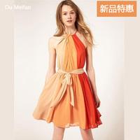 Thurley european style Color Blocking casual dress topshop pleated chiffon dress victoria beckham lolita dress sundress