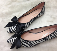 New 2014 Sweet Ribbon Bow Pointed Toe Women Flats Leopard Print Horse Flats Shoes for Women  Plus Size 35-41