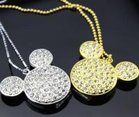 AJ23 New Gold/ Silver Mickey Head 1GB/4GB/8GB/16GB/32GB Real USB 2.0 Flash memory pen drives Fashion Crystal Jewelry Necklace