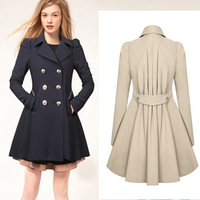 Free Shipping! New arrival 2014 top quality  women double breasted trench slim slimming overcoat medium-long outerwear