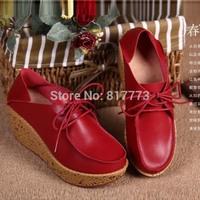 2014 new women pumps women genuine leather high heels woman Wedges shoes 3colors EU size35-40
