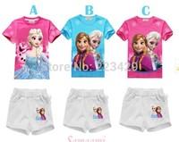 Free shipping 2014 Frozen Clothing Sets Anna Elsa Princess Kids Set Snow Queen Girl Nightie Sister baby girl set