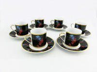 Free Shipping Egyptian Style Ceramic Coffee & Tea Set 6 pcs of Cups & Saucers (HD001) !!