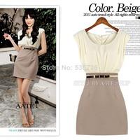 2014 new high quality  Summer Dresses vestidos Sleeveless Tunic Sundress 2Colors Chiffon Mini Dress Women novelty dresses 1436