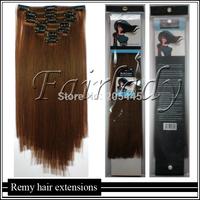 Hot SALE 150g 8PCS 40cm 45cm 50cm 55cm 60cm 65cm Thick  Virgin Clip ins REMY Human Hair Extensions #10 Golden Brown Full Head