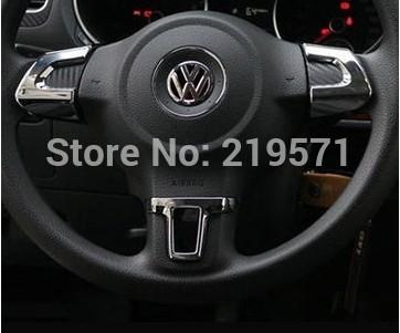 Volkswagen VW GOLF 6 MK6 POLO JETTA MK5 MK6 bora Steering Wheel sticker ABSChrome trim accessories for Volkswagen VW GOLF MK6(China (Mainland))