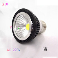 10pcs/lot  AC 220V GU10/E27 /E14 3W 5W 7W COB Led Spot Light Bulbs  Warm/Cool White With  Black Case