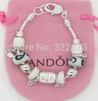 European beads 925 Silver Charm bracelet snake Chain Bracelet & Bangle for Women With Murano Glass Beads Drop Shipping