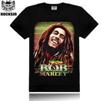 Free Shipping ROCKSIR Reggae Bob Marley Printed Pure cotton men's T-shirt reggae man