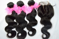 Unprocessed Virgin Cambodian Hair With Closure: Grade 5A Cheap 3 Hair Bundles And 1Piece Bleached Knots Swiss Lace Closure