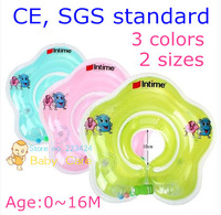 CE, SGS standard intime baby swimming ring  3 colors 0~16month infant neck float  2 separated air bag leak proof valve 2 handle