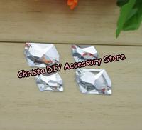 100pcs/lot 13*17mm Transparent White Rhombus Flatback Rhinestones Sewing Acrylic Stones Clothing Accessories Free Shipping