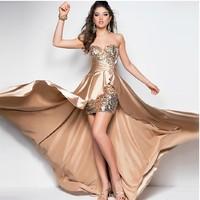 Free shipping new fashion 2014 low-high train formal dress vestidos de fiesta dinner party evening dress party evening elegant