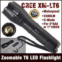 E17 CREE XM-L T6 2000Lumens cree led Torch Zoomable cree LED Flashlight Torch light For 3xAAA or 1x18650 Free shipping(China (Mainland))