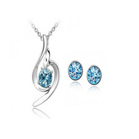 SUPER DEAL (10 colors) Made With Crystal Material Angel Wing Crystal Pendant Necklace Stud Earring Fashion Jewelry Sets