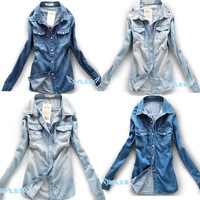 2014 Chic Lots M-XL Hot Sale Gothic retro Fashion Denim Girl's Full sleeve Tshirt leisure Women's Cool jean Shirt