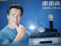 free shipping Cheapest Professional high quality karaoke 2 wireless sensitive microphone handheld free system 30 M kit set
