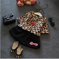 2014 girl leopard set ,girls clothing sets , 5pcs/lot   LXS06