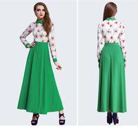 Summer women's 2014 new arrival shirt collar green thin long-sleeve chiffon dress muslim women fashion dress