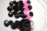 (4 pcs lot) bundles and closure: 3 bundles cambodian virgin hair body wave with 3 way part lace closure bleached knots