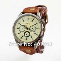 2014 New Women Vintage Leather Strap Watch Men Big Face Antique Quartz Wrist Watch (Assorted Colors)
