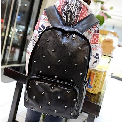 Punk cool rivet decoration backpack student Backpacks travel Backpacks women's bag h360(China (Mainland))