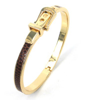 Free shipping fashion brown thin gold plated belt buckle adjust size leather bangle high quality women Dress Bracelets & Bangles