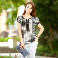 free shipping ! 2014 women's plus size chiffon shirt L,XL,XXL,XXXL,XXXXL women's short-sleeve tops black and white stripe blouse