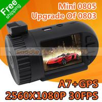 2014 New Arrival Car DVR Mini 0803 Ambarella A7 Upgrade Of Mini 0801 With GPS 135 Degree Super HD 2304*1296P 30FPS