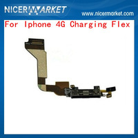 100% High Quality Black White Dock Connector Charging Port USB Flex Cable For iphone 4 4G replacement