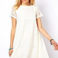 2014 European New Style Women's Round Neck Hollow out Lace  Short Sleeve Dress Size S/M/L/XL 25j-CE3018