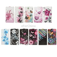 Colorful Abstract / Butterfly and Daisy / Cherry Blossom /Pattern Vertical Flip Leather Case for Sony Xperia C / S39h
