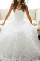 Noble Elegant Lace Wedding Dresses 2014 New Arrival Chapel Train White Ivory Bridal Gown KM-248 Custom Made 2 4 6 8 10 12 14 16