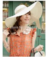 Hot 2014 New  Lady Beach Straw Hat Visor Beach Cap Wide Brim Bowknot Sunhat  Women Summer Hat