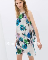 Sundress Women Dress 2014 Summer Fake Two Pieces Print Large Flowers Sleeveless Dress Vest Free Shipping
