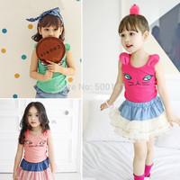 2014 New Children sleeveless T-shirt Girls tees baby Girl Short Sleeve T shirts Cotton Kids Summer Wear Brand Free Shipping