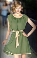 2014 Women Dress Casual Chiffon Elegant Charming Bottoming Legging Bandage Pleated Mini Dresses YS8019