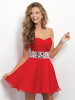 2014 Newest Design A Line Sweetheart  Mini Short  Chiffon Swarovski crystals  Sexy  Homecoming Dresses Evening Dresses