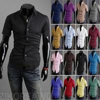 Summer Wear New Men Short Sleeve Shirt Fashion Pointed Collar Pure Color Half Sleeve Shirts