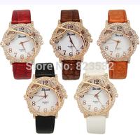 2014 New Fashion tree leaf  Strap Women Diamond Shinning stereoscopic quartz watch luxury Watch Free shippin leather strap gift